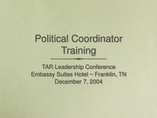 Political Coordinator Training