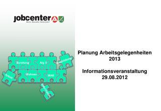 Planung Arbeitsgelegenheiten 2013 Informationsveranstaltung 29.08.2012