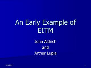 An Early Example of EITM