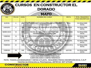 CURSOS  EN CONSTRUCTOR EL DORADO mayo