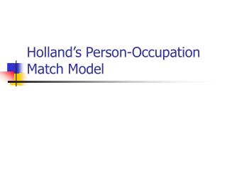 Holland's Person-Occupation Match Model