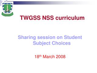 TWGSS NSS curriculum