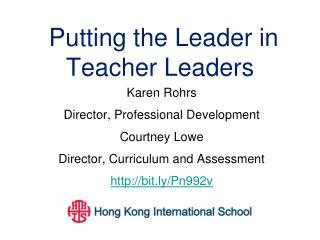 Putting the Leader in Teacher Leaders