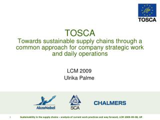 TOSCA Towards sustainable supply chains through a common approach for company strategic work and daily operations