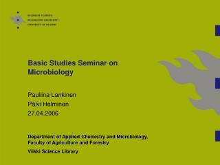 Basic Studies Seminar on Microbiology