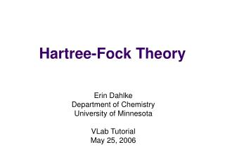 Hartree-Fock Theory