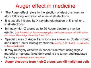 Auger effect in medicine
