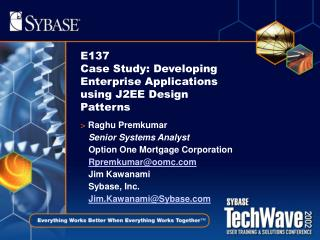 E137 Case Study: Developing Enterprise Applications using J2EE Design Patterns