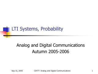 LTI Systems, Probability