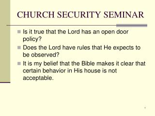 CHURCH SECURITY SEMINAR