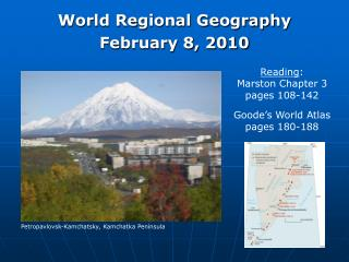 World Regional Geography February 8, 2010