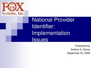 National Provider Identifier:   Implementation Issues
