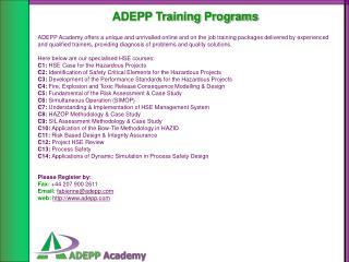 ADEPP Training Programs