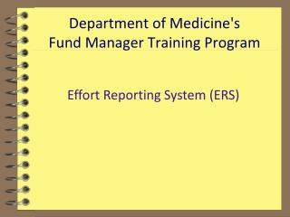 Department of Medicine's  Fund Manager Training Program