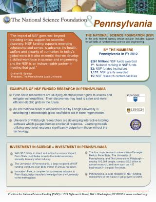 BY THE NUMBERS Pennsylvania  in FY  2012 $261  Million:  NSF funds  awarded  7 th : National ranking in NSF funds  82: