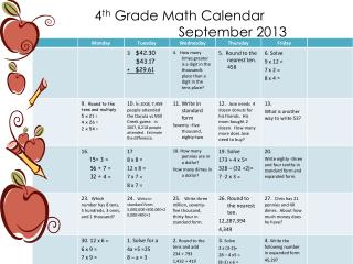 4 th  Grade Math Calendar                              September 2013