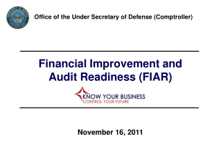 Financial Improvement and  Audit Readiness FIAR  Strategy and Approach