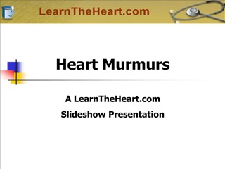Heart Murmurs  A LearnTheHeart  Slideshow Presentation