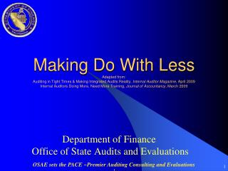 Department of Finance  Office of State Audits and Evaluations