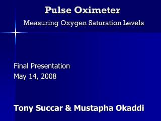 Pulse Oximeter Measuring Oxygen Saturation Levels
