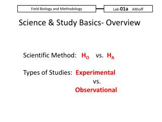 Scientific Method:    H O     vs.   H A Types of Studies:   Experimental 							             vs. 							             Ob