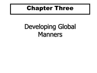 Developing Global Manners