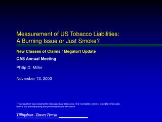 Measurement of US Tobacco Liabilities: A Burning Issue or Just Smoke?