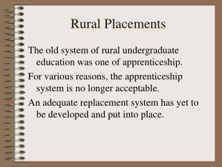 Rural Placements