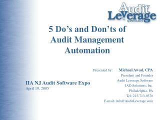 5 Do s and Don ts of  Audit Management Automation