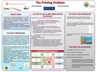 ACTION PLANs & Implementation schedule Problem: Overuse  of printing resources within the CCA  community Action Plan #1