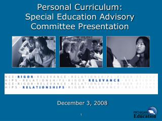 Personal Curriculum: Special Education Advisory Committee Presentation