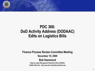 PDC 368: DoD Activity Address (DODAAC)  Edits on Logistics Bills