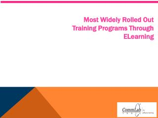 Most Widely Rolled Out Training Programs Through eLearning