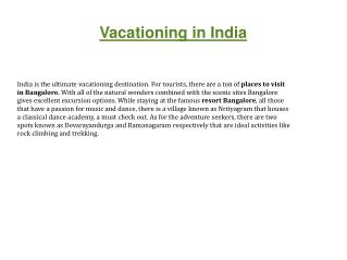 Vacation In India