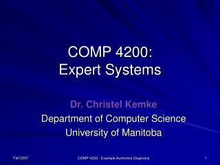 Fall 2007 COMP 4200 - Example Autmotive Diagnosis