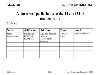 A focused path  torwards TGai  D1.0