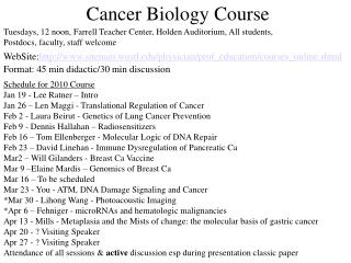Cancer Biology Course