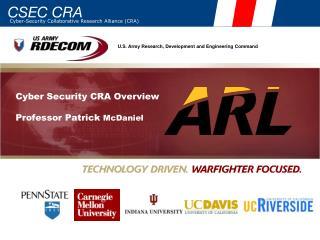 Cyber Security CRA Overview Professor Patrick  McDaniel