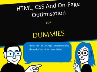 HTML, CSS And On-Page Optimisation