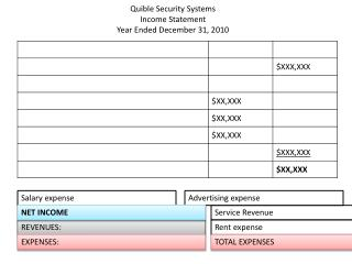 Quible  Security Systems Income Statement Year Ended December 31, 2010