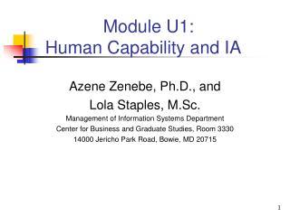 Module U1: Human Capability and IA