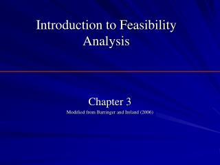 Introduction to Feasibility Analysis
