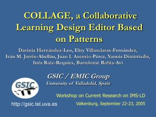 COLLAGE, a Collaborative Learning Design Editor Based on Patterns