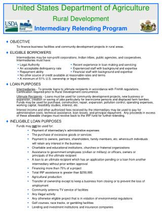 United States Department of Agriculture Rural Development Intermediary Relending Program