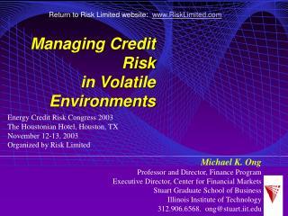 Michael K. Ong Professor and Director, Finance Program