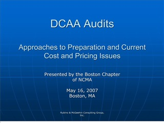 DCAA Audits  Approaches to Preparation and Current Cost and Pricing Issues