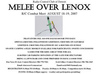 Radio Control Club of Detroit MELEE OVER LENOX R/C Combat Meet  AUGUST 18-19, 2007
