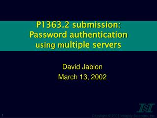 P1363.2 submission: Password authentication using m ultiple servers