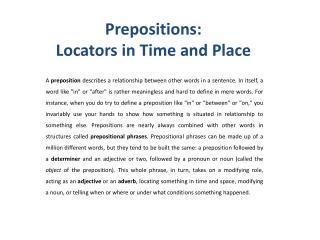 Prepositions :  Locators  in Time  and Place