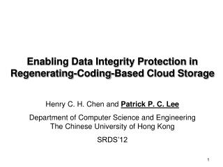 Enabling Data Integrity Protection in Regenerating-Coding-Based Cloud Storage